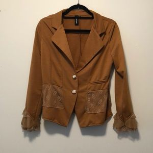 SACRED Threads Mustard Button Front Lace Blazer LG